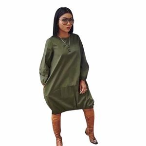 COS army green Boxy oversized puff sleeve dress
